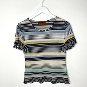Missoni Italy Striped Short Sleeve Multicolor Top
